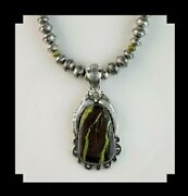 White Fox Creation Chunky Navajo Sterling Beads With Large Gaspeite Pendant