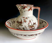 Victorian Aesthetic Ridgway Trans-printed Polychrome Wash Basin And Pitcher Indus