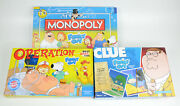 Family Guy Collector's Edition Board Games 2010 Monopoly, Clue, Operation Bundle
