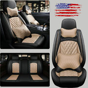 11x Car Seat Covers Set Pu Leather Automotive Front + Rear Cushions Interior Set