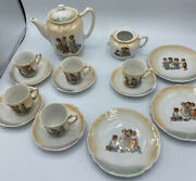 14 Pc Antique Germany Childs Two Tone Tea Set Children Playing Transferware
