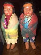 2 Skookum Bully Good Indian Dolls In Excellent Condition