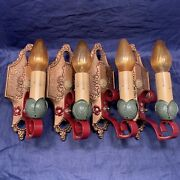 4 Early 1920andrsquos Antique Lincoln Wall Fixtures Rewired Wall Sconces 118d