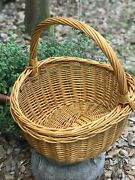 Decorative Wicker Basket With Handle Farmhouse Style 15 Natural Color/tan