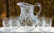 Antique Abp Pairpoint Inaglio Engraved Glass Waterford Pitcher Jug Glasses