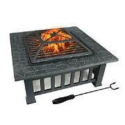 Fire Pit Table W Cover Wood Burning Outdoor Patio Backyard Deck Heater Fireplace