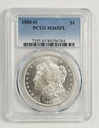 Morgan Silver Dollar 1888 O Pcgs Ms-65 Pl