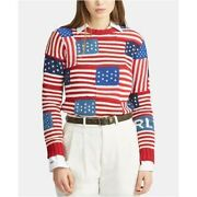 New 398 Polo Usa Novelty American Flag Knit Sweater Size Small S