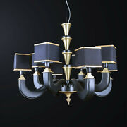 Chandelier Classic Wooden Black And Brass To 8 Lights Bga 3171-8