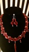 Necklace Handmade Red 1920s Glass Vintage Buttons And Earrings Set