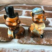 Vintage Salt And Pepper Shakers Fox Couple Pair Top Hat Cane Old Couple