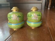 Vintage Oriental Salt And Pepper Shakers With Bases / Small Bowls Very Unique