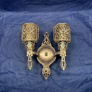 Heavy Single Antique 2 Arm Brass Sconces Mica Shades Rare 115a