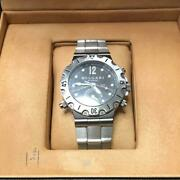 Bvlgari Scuba Gmt Model Stainless Steel Automatic Digital Wristwatch With Box