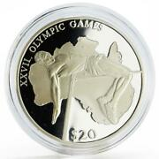 Liberia 20 Dollars Sydney Olympic Games Series High Jumping Silver Coin 2000