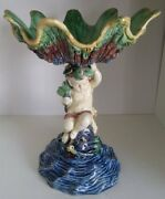 Pretty/old Majolica Palissy Ware Compote Putti On Dolphin Supporting Shell