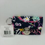 Vera Bradley Quick Swipe Id Ribbons Wallet Floral 5 X 3.5 New W/ Tags Lovely