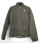 Womens Brown Jacket Full Zip Front Closure Pockets Stand Collar S