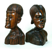 Large Pair Of Antique Bali Wood Carved Sculpture Balinese Indonesia Figure
