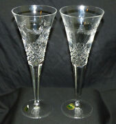 Pair Of Waterford Millennium Peace Crystal Champagne Flute Stems January 1 2000