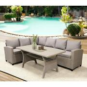 Brown Patio Table Set Outdoor Furniture Wicker Sectional Sofa Table Cushions