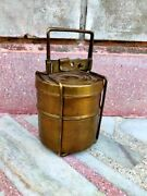 Old Brass Tiffin Box Hand Crafted Lunch Box Indian Home Decor Gift Collectible