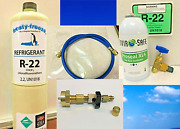 R22 Refrigerant 22 Ac And R Pro Recharge Kit 15oz. Can And Leak Stop Hose Tapers