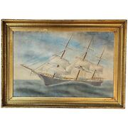 19th Century Watercolor Painting Ship Portrait Of The Sailing Ship Rover