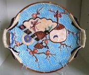 Pretty/old Majolica Large Fielding Fans And Cherry Blossoms Tray, 10 3/4