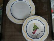 Portugal Hand Painted Simple Island Christmas Look 2 Dinner Plate 1 Pasta Bowl