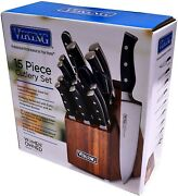 Viking Pro Steel 15 Piece Knife Set German Steel And Wood Block New Free Ship