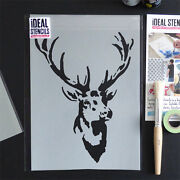 Stag Stencil Vintage Home Decor Wall Fabric Furniture Painting Ideal Stencils