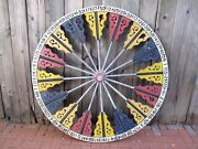 Antique Gaming Wheel Of Fortune Large And Great Two Sided American Folk Art