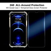 Clear Iphone 12/iphone 12 Pro Low-profile Phone Case With Glass Screen Protector