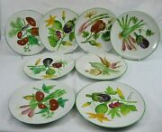 Set 8 Hand Painted Italian Majolica Plates 8 3/4 Vegetables Signed Rooster Mark
