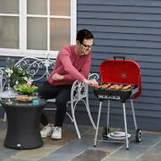 Outsunny 19andrdquo Steel Porcelain Portable Outdoor Charcoal Barbecue Grill With Wheel