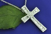 18k Solid White Gold Natural Baguette Diamond Cross Pendant 1.75 Ct Made Usa