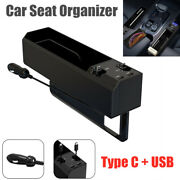 1pc Car Seat Organizer Storage Box W/charger Cable For Iphone Android Type C Usb