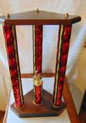 Vintage Trophy 19 1st Place No Topper Red Gold Beauty On Wood Base Volleyball
