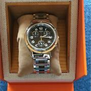 hermes Clipper Chronograph Cl1-910 Menand039s Wristwatch Shipped From Japan