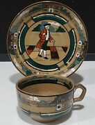Signed 1908 Deldare Ware Buffalo Art Pottery Ye Olden Days Cup And Saucer