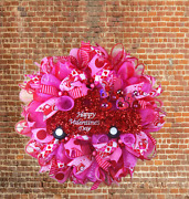 Valentineand039s Day Deco Mesh Wreath Pink Red Truck Home Door Decor Wreath Ribbons