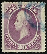 O34 Used 90andcent Dept. Of Justice Official Large Margined And Lightly Canceled