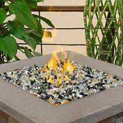 100 Pounds Fire Glass 1/2 Inch Reflective Tempered Rocks For Fireplace Fire Pit