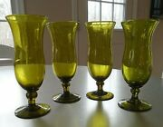 Vintage Footed Blown Glass Stemware Made From Recycled Mountain Dew Bottles