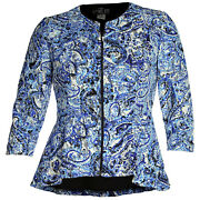 Alex Evenings Large Multi Color Lace 3/4 Sleeve Zip Front Blouse New Free Ship