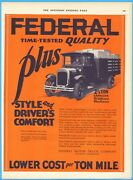 1926 Federal Motor Truck Company Detroit Michigan Stake Bed Time-tested Ad
