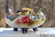 Antique Hand Painted Nippon Footed Dish Bowl Heavy Gold And Jeweled Decoration