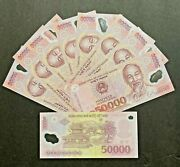 10 X 50000 Vietnam Dong Unc Polymer Banknotes = 500000 Vnd Vietnamese Currency