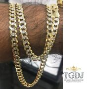 14k Solid Golg 6.9mm Authentic Cuban Link Yellow White Pave Gold Chain Necklace